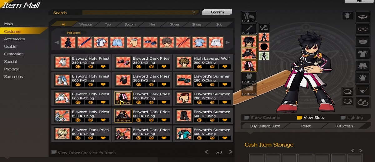 Elsword-Screenshot-Cash-Shop-Costumes